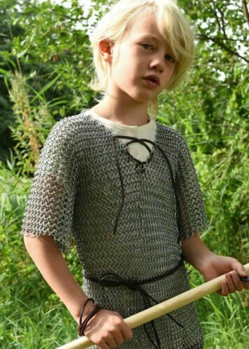 Aluminum Chainmail Shirt 10-15 yrs child Medieval Chain Mail Armor Costume GiftReenactment & Reproductions - 156374