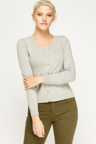 Women Ladies Fine Knit Button Cardigan Round Neck & V Neck Long Sleeve Tops <br/> Please check the Size Guide and Description to fit you