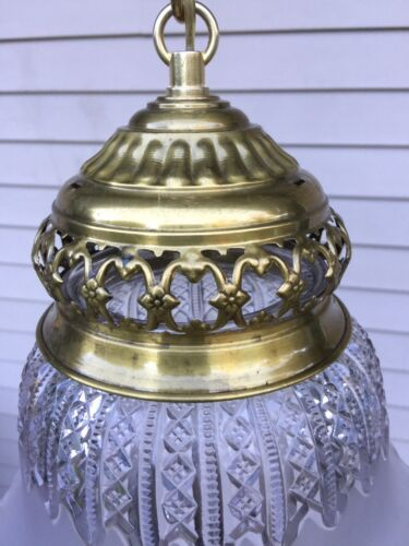 Vintage Chandelier Pendant Ceiling Light Lamp Brass Frosted Cut Glass Shade