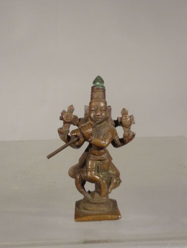 Antique Indian Copper Bronze Deity Buddhist Figure Hindu Vishnu Miniature