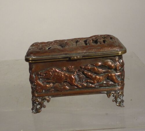 Antique Silverplate Copper Repousse Jewelry Box Hunting Scene German Dutch