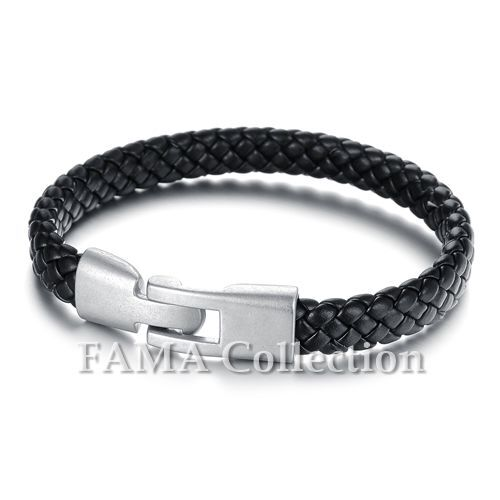 Quality Stylish FAMA Black Braided Leather Bracelet NEW