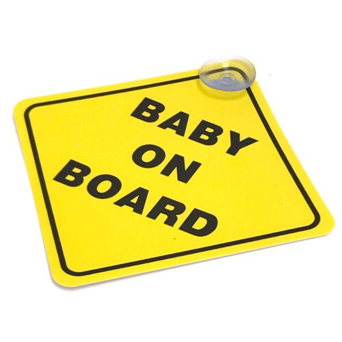 """Baby On Board SAFETY Car Window Suction Cup Yellow REFLECTIVE Warning Sign 5x5"""""""