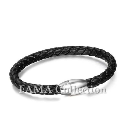 Quality Stylish FAMA Black Braided Leather Bracelet with Stainless Steel Closure