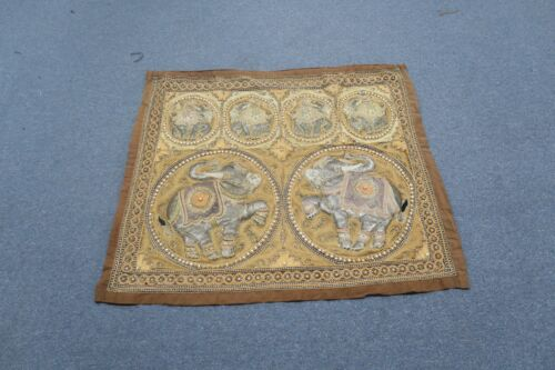 """Antique Thailand Burma Embroidery Kalaga Tapestry Elephants Sequins 32"""" x 38"""""""