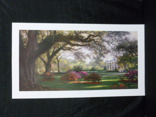 Larry Dyke Signed Southern Hospitality Lithograph Oak Allee Mississippi River