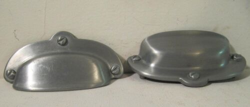 Antique Style Drawer Pulls Bin Cup Handle Dull Silver Cast Metal Lot of 2