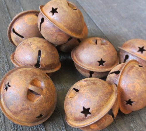 "Lot of 5 Primitive Country 1.5"" Rusty Metal Star Jingle Bell Ornie Bowl Fillers"