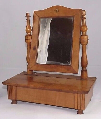 Antique Wood Mirror Looking Glass Dresser French Drawer barock 1900