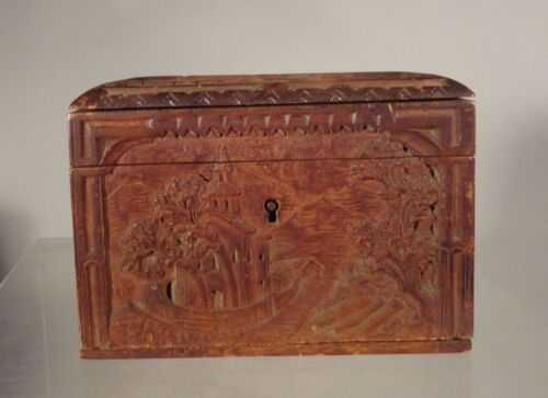 Antique Carved Black Forest Box Castles Carved Wood Germany Austria Jewelry Box