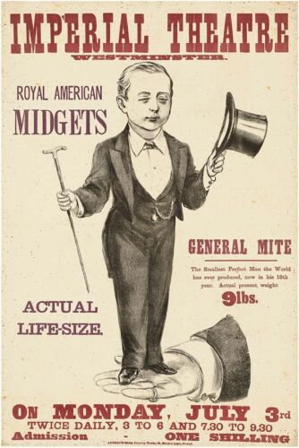 ROYAL AMERICAN MIDGETS Vintage Freak Show Poster CANVAS ART PRINT 24x34 in.