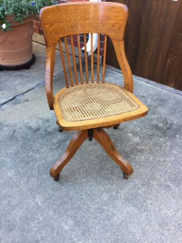Antique Office Chair Oak, Wicker, Roller. Exc Cond. Local Pick Up
