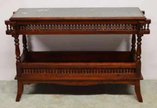 Mahogany Console Hall Sofa Table Server w. Marble Top