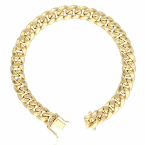 10K Yellow Gold Hollow 7.5mm Miami Cuban Men's Bracelet 8.5""