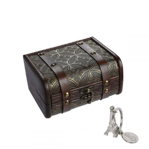 SiCoHome Treasure Box 5.9inch Copper Small Trunk Box Vintage Jewelry Storage Tre