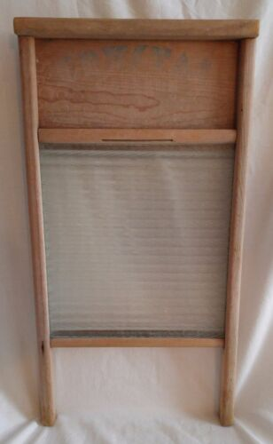 Antique Vintage Crystal Cascade Glass and Wood Washboard