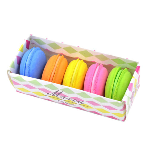 5Pcs Fashion Cute Macarons Colors Rubber Pencil Eraser Sweet Stationery Set