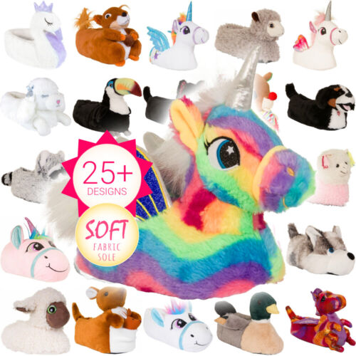 New Womens Animal Slippers Girls Novelty 3D Character Winter Warm Unicorn Ladies