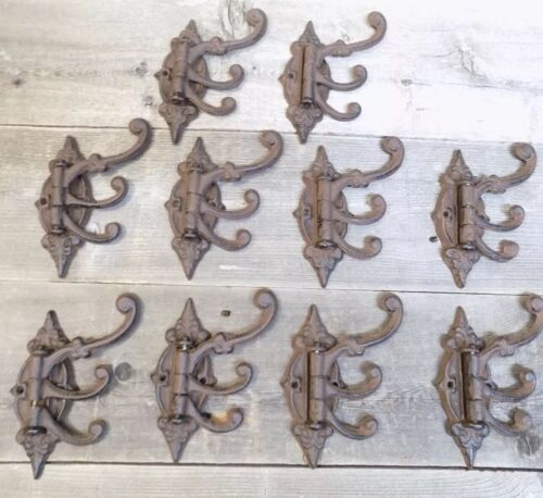 10 Cast Iron Antique Style SWIVEL Coat Hooks Hat Hook Rack Tree Restoration WOW!