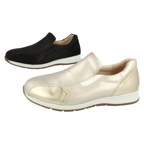 Ladies Leather Easy B Metallic Slip On Trainers / Shoes Cleo