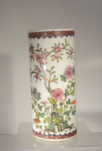Antique Chinese Enameled Porcelain Hat Stand Chrysanthemums Pomegranate