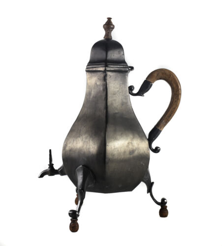 18th Century European Pewter Footed Samovar Hot Water Kettle, wood handle, feet