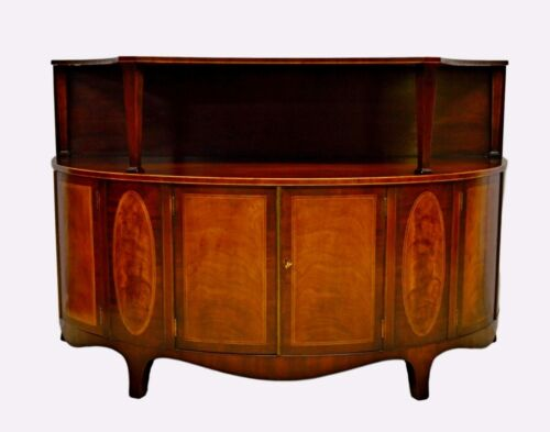 Baker Mahogany Demilune Inlaid Commode Sideboard Buffet Console Server