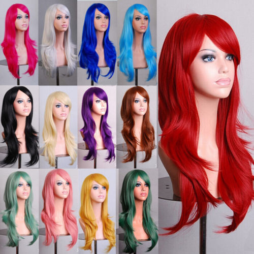 Fashion 70cm Full Curly Wigs Cosplay Costume Anime Party Hair Wavy Long Wig