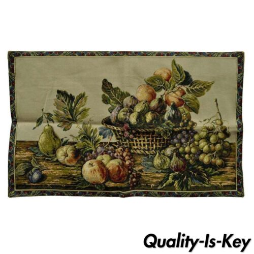 """42""""x26"""" French Wall Hanging Tapestry Aubusson Fruit Still Life Beige Background"""