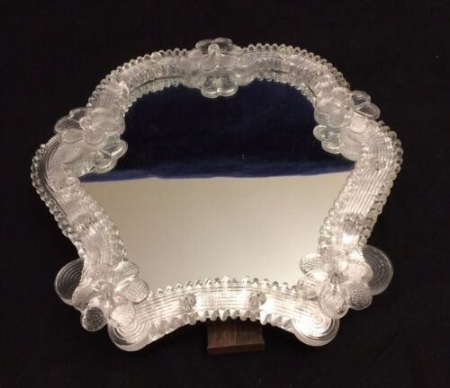 Beautiful Vintage Hand Made Murano Glass Vanity Table Top Mirror with Flowers