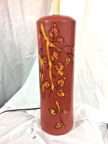 Signed Raymor Mid Century Tall Ceramic Pottery Lamp Red Floral Italy Leaves