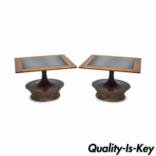 Pair of Vtg Mid Century Modern Cork Sculpted Walnut Glass Square Low Side Tables