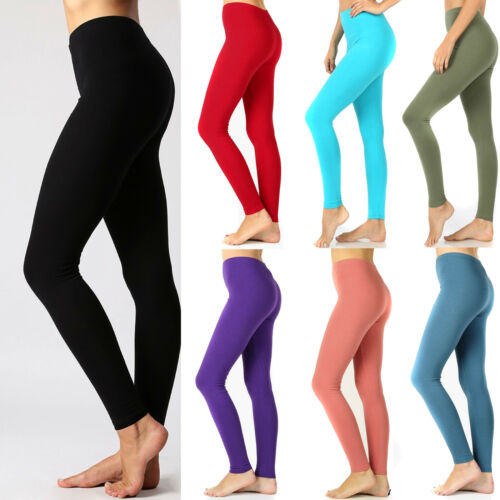 Women's Cotton Full Length Leggings Comfy Stretch Yoga Long Fitness Plus Reg