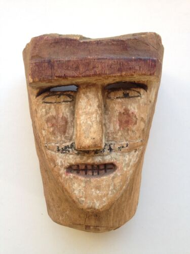 Mid-Century, Danced, Ethnographic, Mojíca-Moro, Wooden, Mask, Mexican, Carnaval