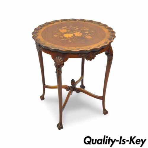 "Antique 28""H French Louis XV Style Walnut Flower Inlaid Round Accent Side Table"