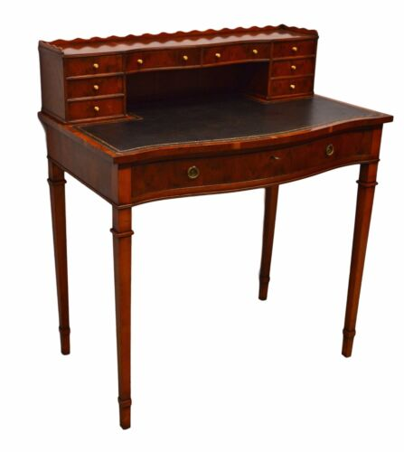 English Yew Wood Hand Crafted Writing Desk w/Key