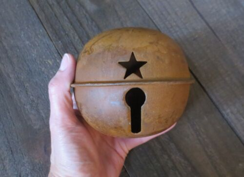 Large 4.7 inch Rusty Jingle Bell Primitive Decor Rustic Country Winter Holiday