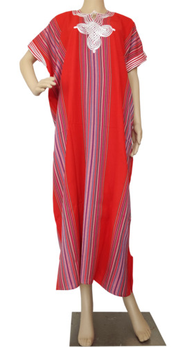 Moroccan Kaftan Cotton Maxi Dress Casual Women Full Length House Dress One Size