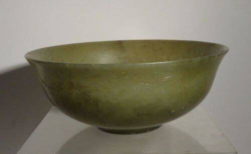 Antique Chinese Carved Nephrite Jade Bowl Incised PHoenix Green Flawed