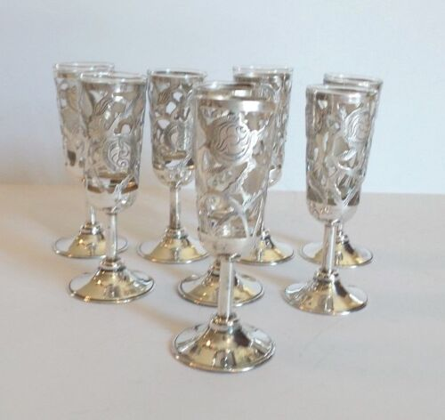 "SET/8 MID-CENTURY MEXICO STERLING SILVER 4"" PIERCED CORDIALS, GLASS LINERS"