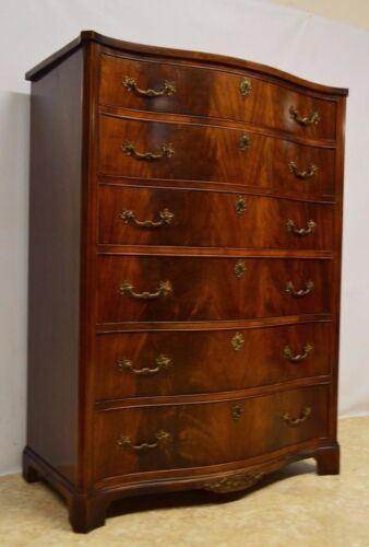 Flame Mahogany Serpentine Chest of Drawers Dresser