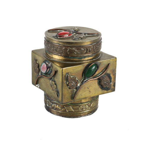 Chinese Gilt Brass Tea Caddy floral design with gemstone cabochons c1900