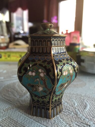 Vintage Antique CLOISONNE Cabinet Vase Container Lidded Jar Chinese ENAMEL BRASS