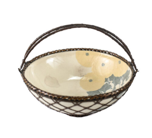 Japanese Meiji Porcelain Hand Painted Woven Wire Overlay Bowl Hand painted c1920
