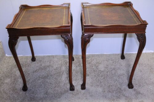 Great Chinese  Chippendale  Mahogany Lather Top End Side Tables,Claw Foot