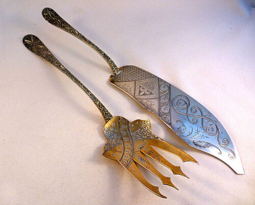 Beautiful Aesthetic Sterling Large Fish Serving Set by Black Starr & Frost