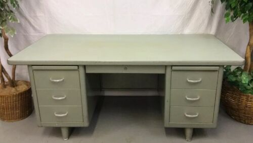 Vintage Mid Century STEELCASE Tanker Industrial Desk Heavy Metal Steel Retro