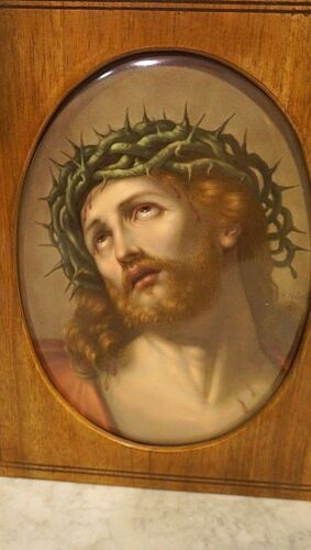 KMP Antique porcelain Painted Plaque portrait of the Passion of Christ Framed