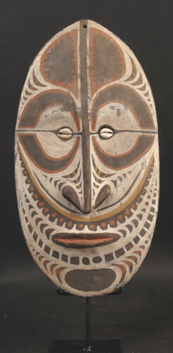 Ancestor Spirit Mask from Sepik River of Papua New Guinea with stand