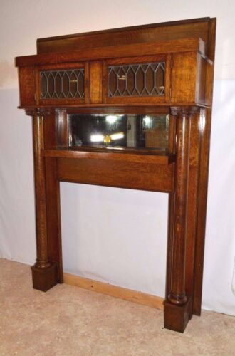 Rare Antique Oak Mantel with Leaded Glass Bookcase Top Mirror & Columns